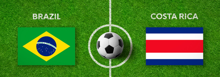 Football match Brazil vs. Costa Rica Stock Photo