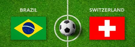 Football match Brazil vs. Switzerland Stock Photo