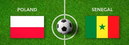 Football match Poland vs. Senegal Stock Photo