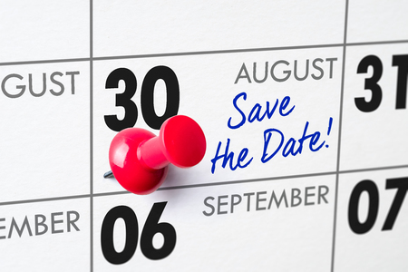 Wall calendar with a red pin - August 30