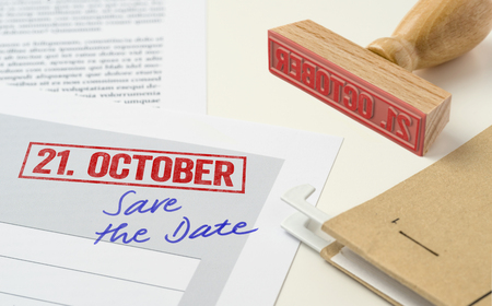 A red stamp on a document - October 21 Stock fotó