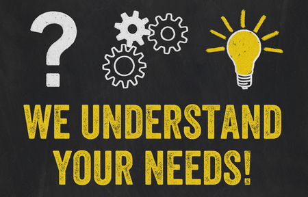 Question Mark, Gears, Light Bulb Concept - We understand your needs