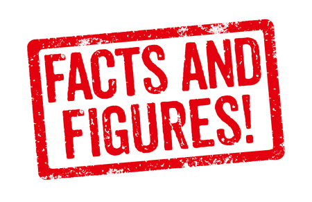Red Stamp on a white background - Facts and Figures Reklamní fotografie