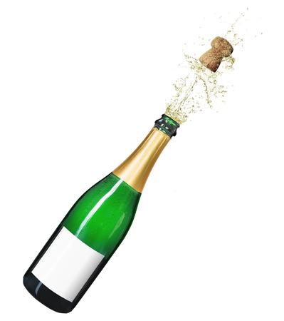Botella de champán aislado sobre un fondo blanco.
