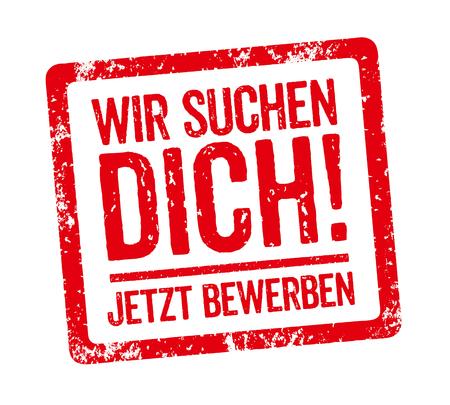 Czerwony znaczek - niemiecki slogan Wir suchen Dich (Chcemy cię)