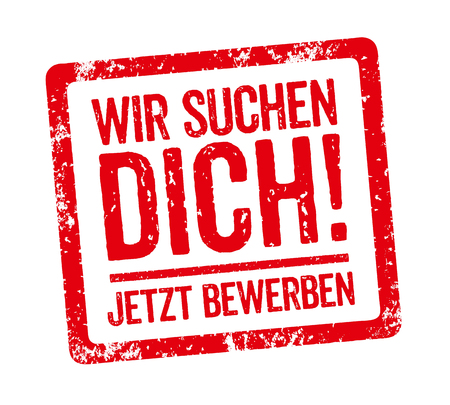 Red Stamp - German Slogan Wir suchen Dich (We want you)