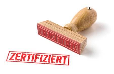 A rubber stamp on a white background - Zertifiziert (German word for certified)