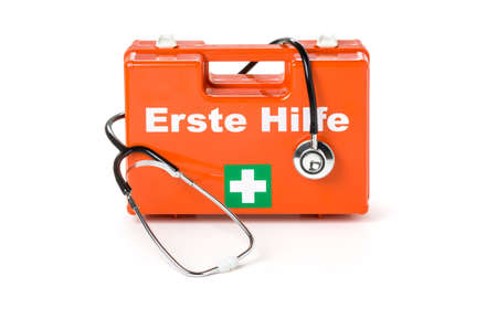Erste Hilfe Kasten (German for First aid kit) with stethoscope