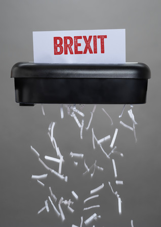 A shredder destroying a document - Brexit