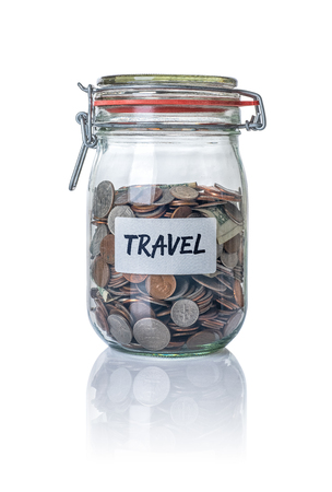 Isolated jar filled with coins labeled Travel