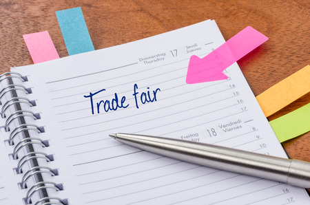 Daily planner with the entry Trade fair