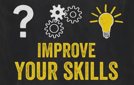 Question Mark, Gears, Light Bulb Concept - Improve your skills Stock Photo