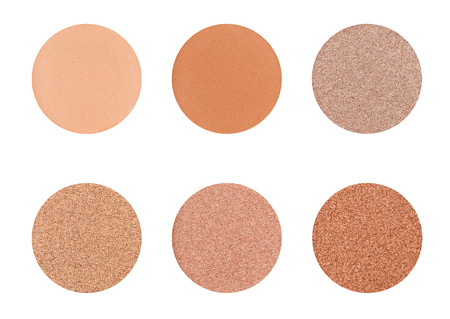 Eyeshadow palette on a white background -  Browns and Ochre Stock Photo