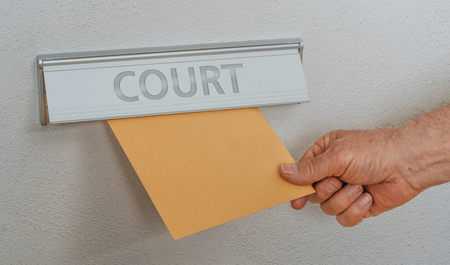 A letterbox with the inscription Court Stock Photo