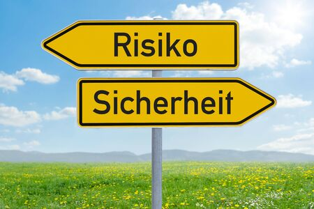 Two direction signs - Risk or Safety - Risiko oder Sicherheit (german) Stock Photo