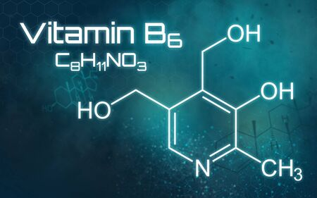 Chemical formula of Vitamin B6 on a futuristic background Stok Fotoğraf