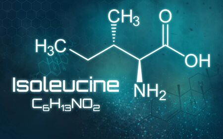 Chemical formula of Isoleucine on a futuristic background 版權商用圖片