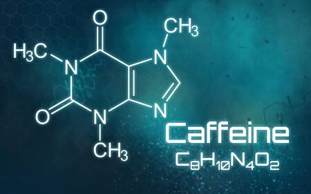 Chemical formula of Caffeine on a futuristic background Stock Photo
