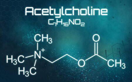 Chemical formula of Acetylcholine on a futuristic background Reklamní fotografie
