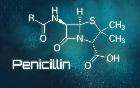 Chemical formula of Penicillin on a futuristic background