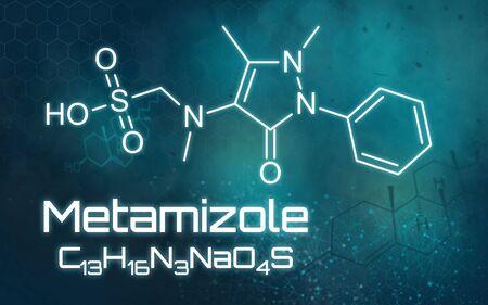 Chemical formula of Metamizole on a futuristic background
