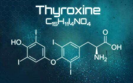 Chemical formula of Thyroxine on a futuristic background Reklamní fotografie