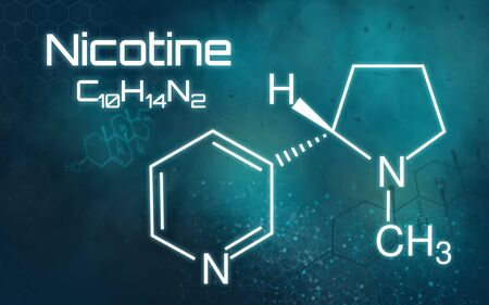 Chemical formula of Nicotine on a futuristic background