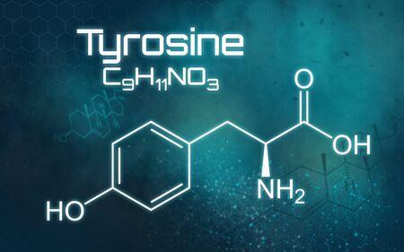 Chemical formula of Thyrosine on a futuristic background Reklamní fotografie
