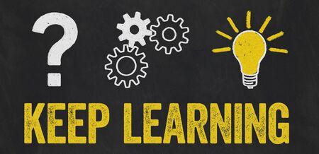 Question Mark, Gears, Light Bulb Concept - Keep learning