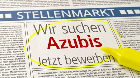 Job ad in a newspaper - Apprentices wanted - Wir suchen Azubis (German) Reklamní fotografie