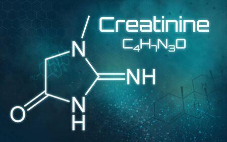 Chemical formula of Creatinine on a futuristic background