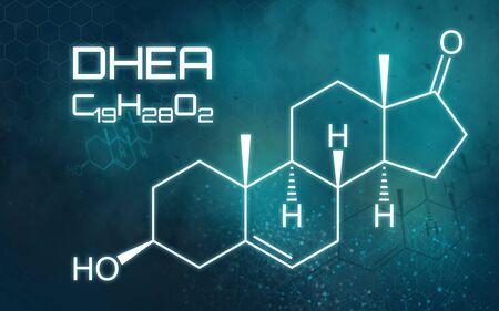 Chemical formula of DHEA on a futuristic background Reklamní fotografie