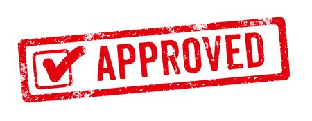 A red stamp on a white background - Approved Reklamní fotografie