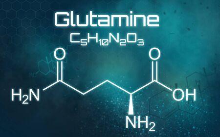 Chemical formula of Glutamine on a futuristic background Reklamní fotografie