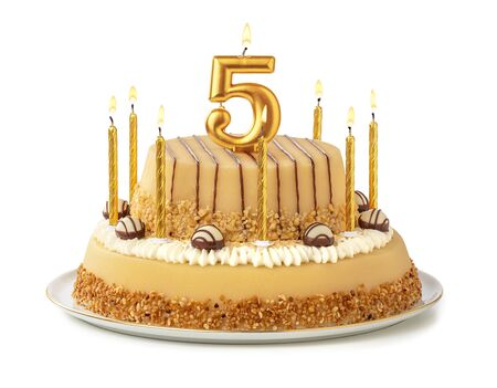 Festive cake with golden candles - Number 5 Archivio Fotografico