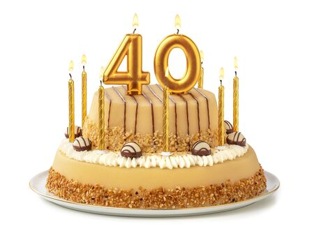 Festive cake with golden candles - Number 40
