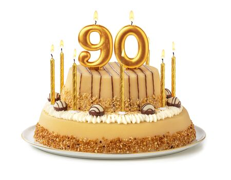 Festive cake with golden candles - Number 90 Imagens