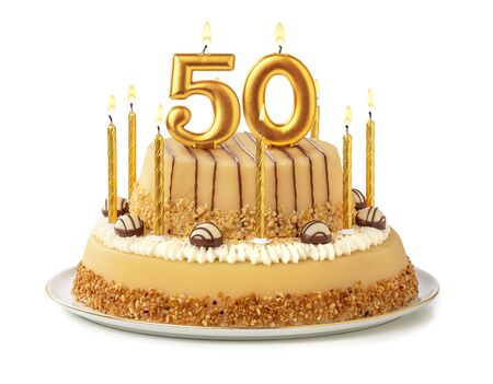 Festive cake with golden candles - Number 50
