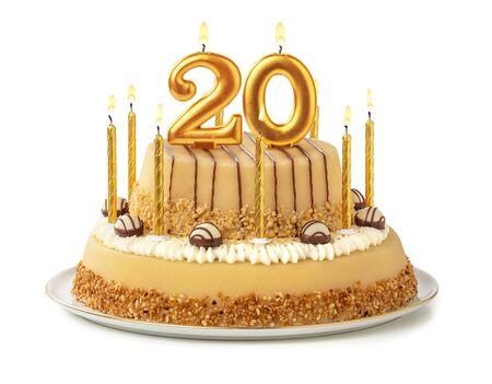 Festive cake with golden candles - Number 20 Imagens