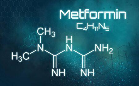 Chemical formula of Metformin on a futuristic background Stock fotó
