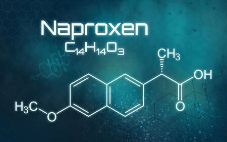 Chemical formula of Naproxen on a futuristic background