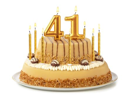 Festive cake with golden candles - Number 41