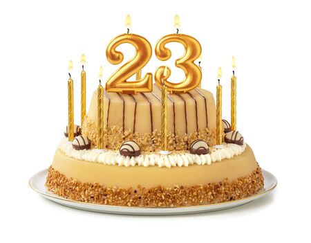 Festive cake with golden candles - Number 23