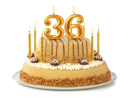 Festive cake with golden candles - Number 36