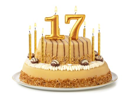Festive cake with golden candles - Number 17