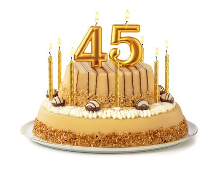 Festive cake with golden candles - Number 45 Stock Photo