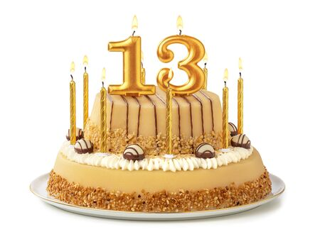 Festive cake with golden candles - Number 13