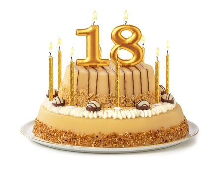 Festive cake with golden candles - Number 18