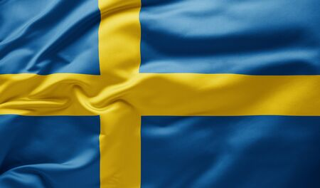 Waving national flag of Sweden Banco de Imagens