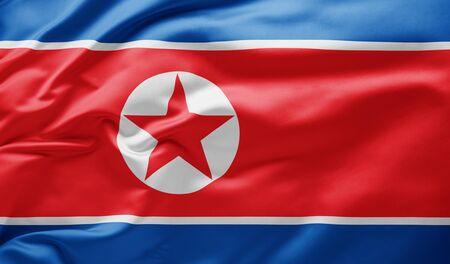 Waving national flag of North Korea